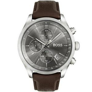Hugo Boss Gentlemans Leather Grand Prix Watch w/Gray Dial