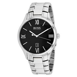 Hugo Boss Gentlemans Stainless Steel Governor Watch w/Black Dial