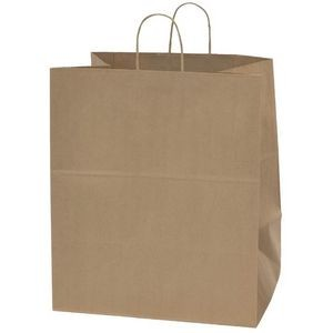 "Food Service Paper Shopping Bags, Natural Kraft, Hot Stamped - Grande 16"" x 11"" x 18¼"""