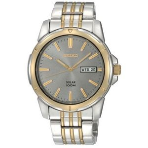 Seiko Mens Solar Two Tone Stainless Steel Charcoal Dial Watch