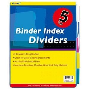 5 pack Poly Binder Index Dividers with Colored Tabs
