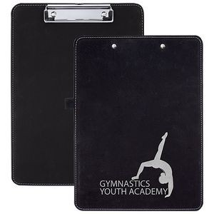 "Faux Leather Clipboard, Black, 9"" x 12 1/2"""