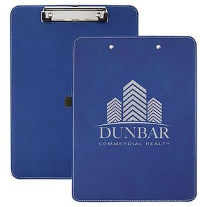 "Faux Leather Clipboard, Blue, 9"" x 12 1/2"""