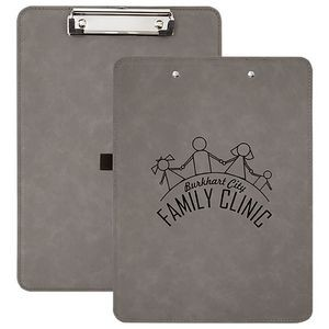 "Faux Leather Clipboard, Gray, 9"" x 12 1/2"""