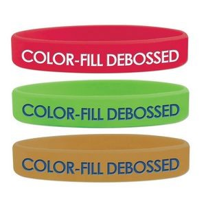 Debossed Color Fill Silicone Wristband