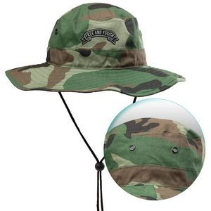 Foldable Cotton Bucket Hat with Camouflage and Draw Cord