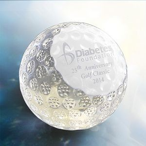 Medium Crystal Golf Paperweight w/Pristine Crystal Surface