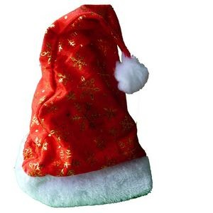 Cotton Red Plush Santa Hat with Golden Snowflake 15.5¡± Tall
