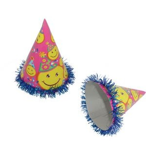 "9.5"" Tall Fringed Foil Party Hat Printed Smile Face"
