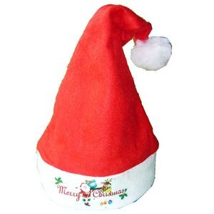 Red Nonwoven Christmas Hat with Ball on Top for Children
