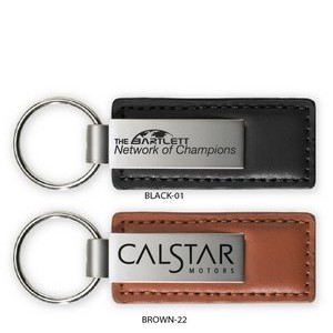 Brushed Zinc/Leather/Big Logo Key Tag