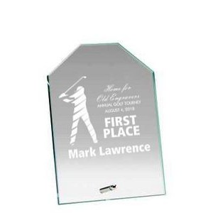 "Glass Engraved Award with Chiseled Top - 9"" Tall"